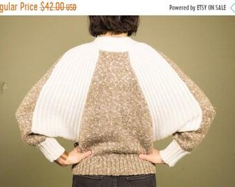 Vintage 70s Batwing Sweater Bold Brown Heather White Knot Neckline Retro Wool Boho Bohemian Sweater ~ Christina's ~ Large