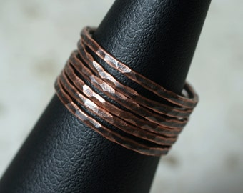 Hand hammered antique copper midi ring, knuckle ring, stack rings, stackable rings, 2 pcs (item ID ACSR)