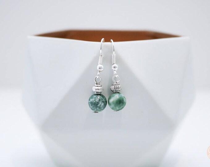 Speckled Jade Irregular Beaded Dangle Earrings.