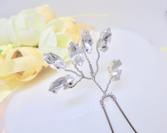 Bridal hair pins, silver hair pins, wedding hair pins, rhinestone hair pins, bridesmaids hair pins, gold Hair pins,handmade hair pins