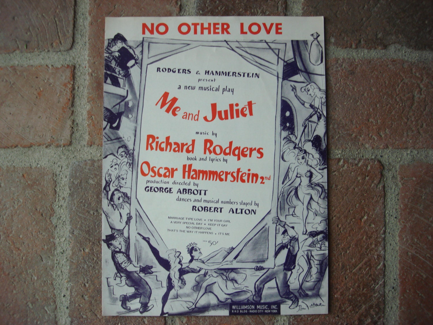 1953 Sheet Music No Other Love Vintage Rodgers
