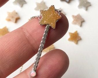 Magic Wand Necklace - Fairy Wand Pendant - Wand Necklace - Spring Necklace - Druzy Jewelry - Gemstone Jewelry