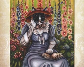 Cottage Garden Cat Reading Book 8x10 Fine Art Reproduction Print