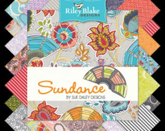 """Sundance Charm Pack Stacker by Riley Blake Fabrics, 42 Pieces, 5"""" squares, bin H"""