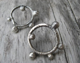 Sterling silver circle twig post earrings by Lisa Colby Metalsmith (E242)