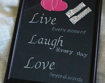 Love quotes burlap embroidery