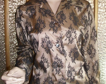 Women's Lace And Satin Button Down Shirt