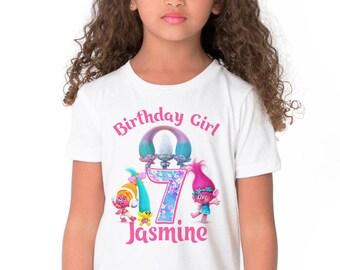Trolls Birthday Shirt Add Name & Age Poppy Branch Custom Birthday TShirt B
