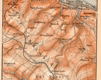 1909 Boppard, Germany, Antique Map, Rhein, Hunsrück, Rhineland-Palatinate, Rhine River, Rheinland-Pfalz, Kratzenburg, Mainz, Deutschland