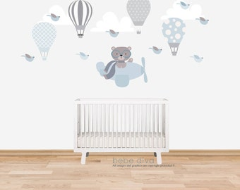 Hot Air Balloon Wall Decals, Kids Wall Decals, Wall Decal Nursery, Nursery Wall Decal, Baby Wall Decal, Kids, REMOVABLE and REUSABLE