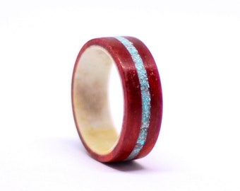 Redheart Wood Ring, Deer Antler Ring, Wood Ring With Turquoise Inlay, Mens Wedding Band