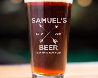 Personalized Etched Pint Glass / Beer Glass / Groomsman Gifts / Birthday Gifts / Gifts for Him / Gifts for Men / Gifts for Groom