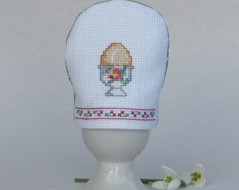 Embroidered egg cozy pink rose - cross stitch Easter floral