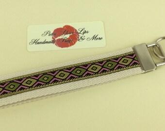 Key Fob Wristlet Key Ring Chain Wrist Strap Lanyard Wedding Favours Jaquard