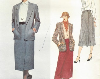 1980s Nina Ricci Womens No Button Jacket, Blouse and Tie, and Wrap Skirt Classic Suit Vogue Sewing Pattern 2021 Size 14 Bust 36 FF