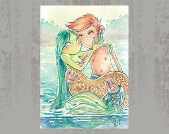 MerMay 2018 Card 22 - Original ACEO, watercolor painting