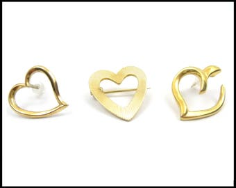 Lot of 3 Gold Heart Pins, Heart Lapel Pins, Ribbed Gold Heart Brooch, Free Form Gold Heart Pin, Open Gold Heart Pin, Upcycle, Gift for Her