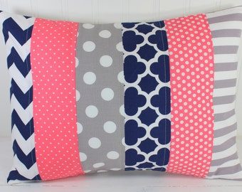 Pillow Cover, Decorative Pillows, Nursery Decor, Baby Girl, Cushion Cover, Pillow, Baby Bedding, 12 x 16,  Coral Pink Navy Blue Gray White
