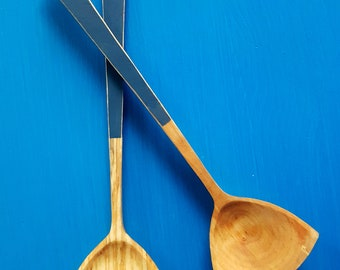 Handcarved and painted wooden salad servers | handmade salad spoons | tongs | serving spoons | birch