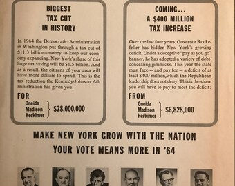 1964 Upstate NY Johnson/Humphrey/Kennedy Campaign Flyer
