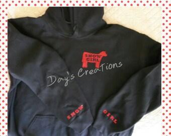 Custom Show Girl Hooded sweatshirt - cow show girl added to sleeves - custom made livestock cow sweatshirt - livestock hooded sweatshirt