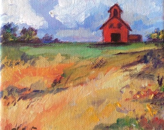 Red Barn 2 Landscape  Painting rural art original painting 5 x 5""