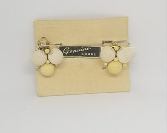 Vintage white Coral and yellow Clip on earrings