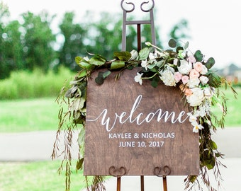 Ceremony Welcome Signs, Welcome Sign Wedding, Welcome Wedding Sign, Wedding Welcome Sign, Welcome to our Wedding Sign Wooden
