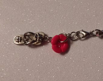 Hot pink flower button with flip flop charm