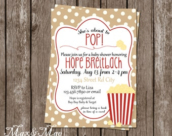 She's About To Pop Invite, Baby Shower Popcorn Invitation, Popcorn Invitation, Digital, Printable