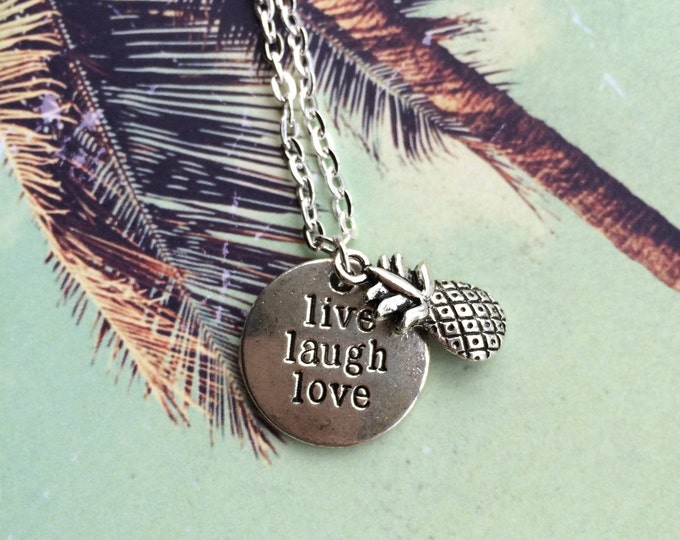 Pineapple Live Laugh Love summer days necklace.