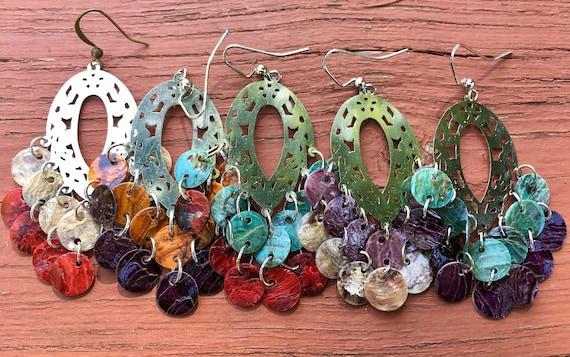 "Halloween Colored ""Simply Chandelier"" Mussel Shell Earrings"