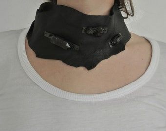 Leather cowl/bib necklace with sterling silver hardware encrusted with black tourmaline & Tibetan phantom quartz