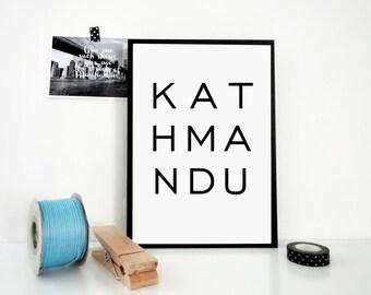Kathmandu Printable Print, Nepal Print, Kathmandu Poster, Travel Poster, Typography, Minimal Print, Scandinavian Design, Buddha, JPG & PDF