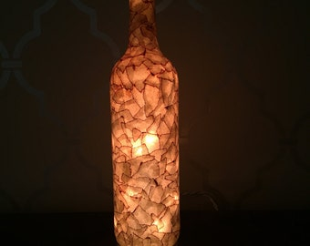 Brown Faux Antique Leather Light Up Wine Bottle