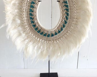Shell chain-Tribal shell necklace-Turquoise