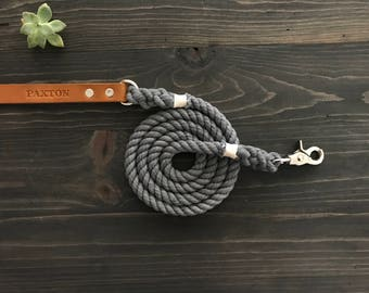 Single Color Dog Leash, Solid Color Dog Leash with Leather Handle, Leather Dog Leash, Dog Leash