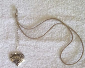 Navy heart charm leather necklace