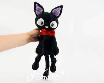 Crochet PATTERN No 1723 Black cat  pattern by Krawka, Halloween, witch, animal, cat, kitty