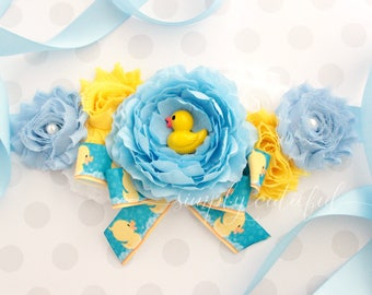 SALE! Rubber Duck Baby Shower Sash, Blue Duck Baby Shower, Ducky Flower Sash, Mommy to Be Sash, Photo Prop
