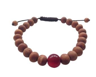 Wood Bead Tibetan Wrist Mala/Bracelet with Large Carnelian Spacer for Meditation