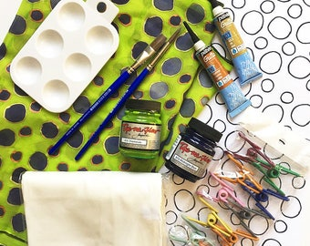 Silk Painting Kit - Fabric Painting - Craft Kit - DIY Gift - Design Your Own Scarf - Craft Pattern - Silk Scarf Painting - Polka Dot Pattern