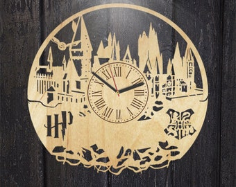 Harry Potter Wood Wall Clock, Hermione Granger Wood Clock, Wall Clock Modern, Ron Weasley Gift For Kids, Hogwarts Wooden Wall Clock Vintage