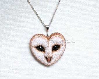 White Owl pendant, unique gift idea for owl lovers. Handmade and hand painted white owl face heart pendant by MagicsOfCreation