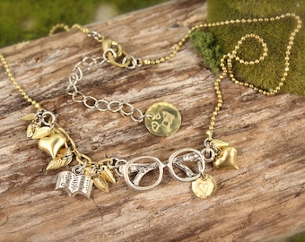 Reading Glasses Book Reader Love Leaf Charm Necklace