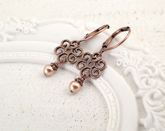 Small Copper Filigree Earrings with Swarovski Rose Gold Pearls - Shabby Victorian Leverback Earrings - Wedding Guest Jewelry