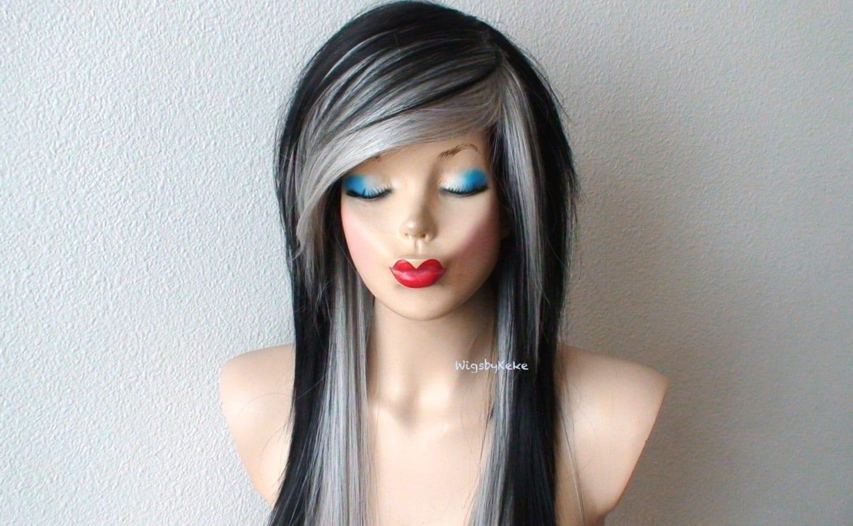 Scene Wig Emo Wig Black Gray Wig Black Gray Hair Long