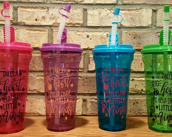 FREE SHIPPING - It Takes A Big Heart To Help Shape Little Minds Plastic Tumbler - Teacher Appreciation Water Bottle - Teacher Gift Cup