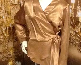 Lovely Wrap Bronze Gold Blouse