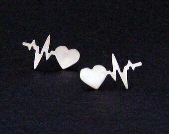 Heartbeat Earrings - Silver Heartbeat Jewelry - Gift for Nurse - Nurse Earrings  -Heart Earrings - Heart Stud Earrings - Gift for Doctor